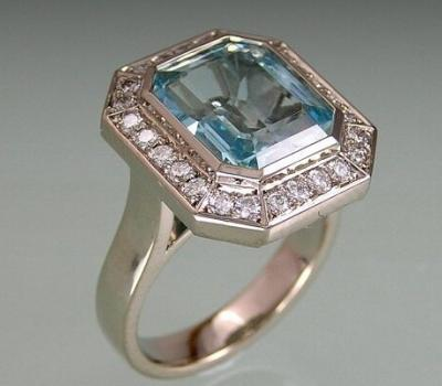 Ring with Classic Diamond entourage around emerald cut Aquamarine