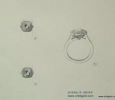 Sketch of Classic Entourage ring with Aquamarine centerstone surrounded by Diamonds