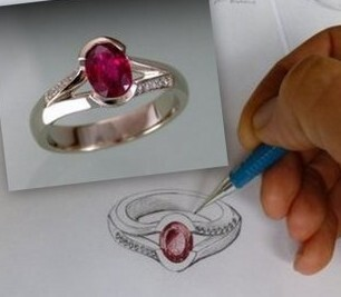 Custom designed ring with sketch by Orbit Jewellery