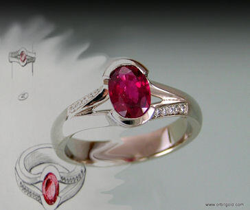 Sketch and finished ruby and diamond ring