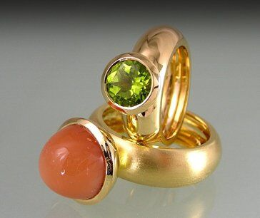 Green Peridot and Salmon Moonstone Dress Rings in 18k Gold