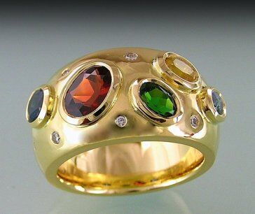 Multi gemstone re-modelled ring