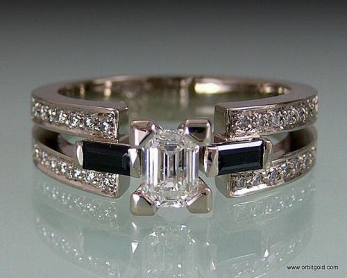Diamond & Spinel Engagement Ring In Art Deco Style #DR8