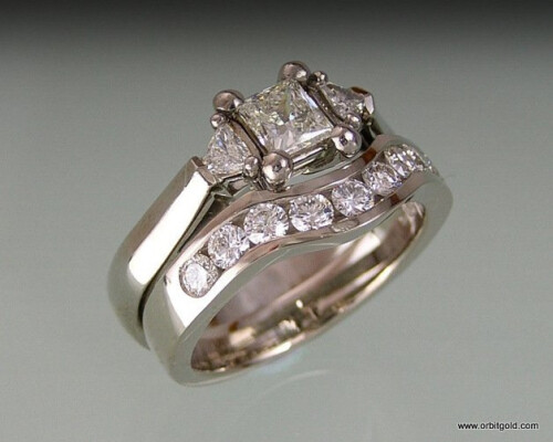 Princess and Trilliant Diamonds Matching Ring Set #DR10