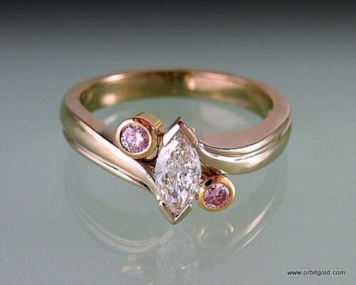 Pink & White Diamonds Ring Custom Made In Graceful Design #DR9