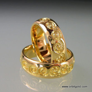 Yellow Gold Wedding Band With Carved Details