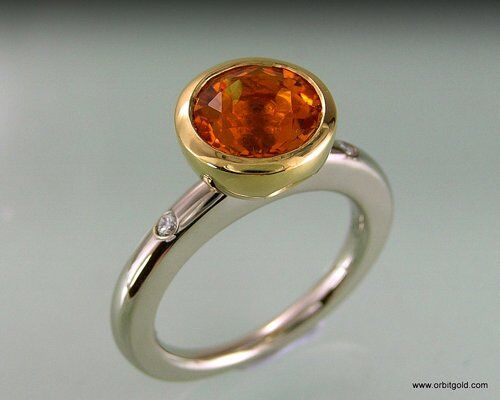 Whitegold Ring With Big Citrine CenterStone