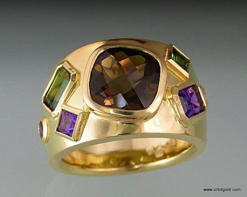 Wide Gold Band With Multiple Gemstones