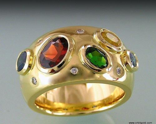 Coloured Gems In Gold Ring