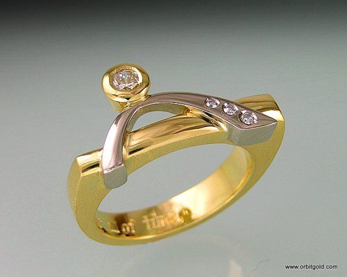 "Modern diamond ring ""Bridge"""