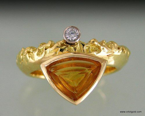 Modern Trilliant Gem Ring
