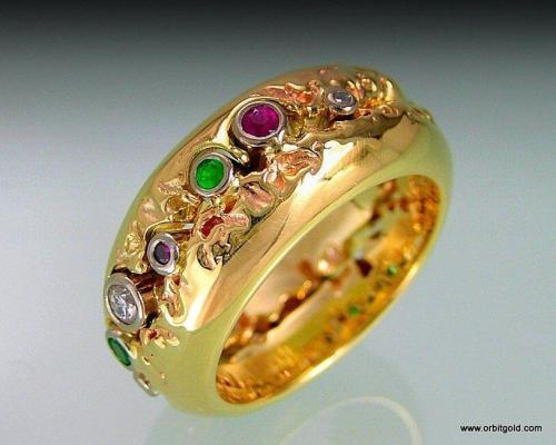 Diamond, Ruby, Emerald Contemporary Ring