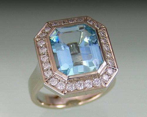 Classic Emerald Shaped Aquamarine With Diamond Entourage
