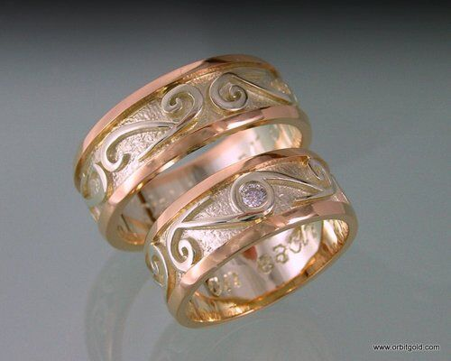 FERN inlay wedding bands rose and white gold