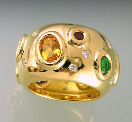 Multi gemstones and diamonds dress ring in yellow gold