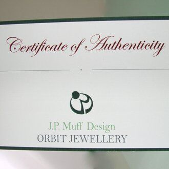 Orbit Jewellery Cert of Authenticity -JP Muff Design