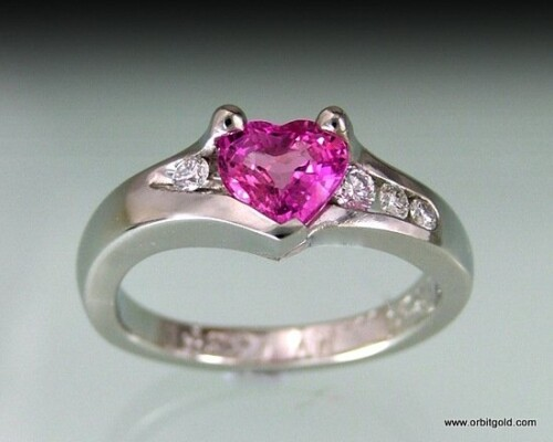 Pink Sapphire Heart And Diamonds Engagement Ring Custom Made