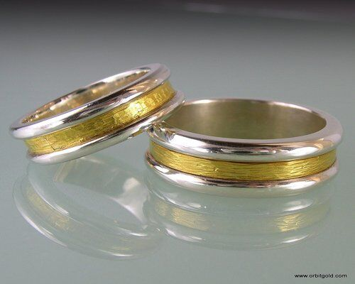 White & Yellow Gold textured wedding rings