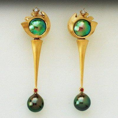 Earrings with Paua Pearls, Diamonds, drop Tahitian Pearls and Rubies