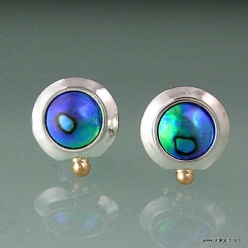 Silver and gold earstuds with Paua Blue Pearls in a timeless design by Orbit Jewellery