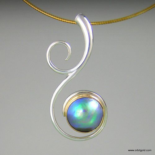New Zealand pendant with NZ Paua Blue pearl