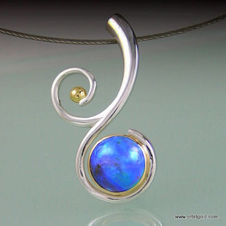BluePearls set in SCROLL design silver and gold pendant