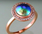 Rosegold Diamond set halo ring with blue-green-pink Paua pearl