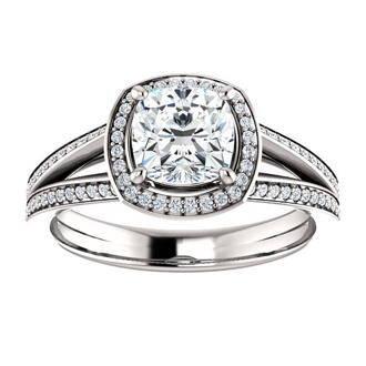 Cushion Diamond Halo split shank engagement ring