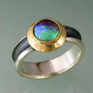 Paua TURTLE ring with yellow gold top