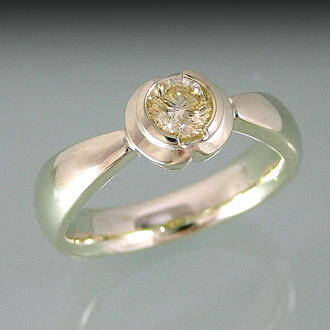angular view of tulip diamond ring by Orbit jewllery Queenston