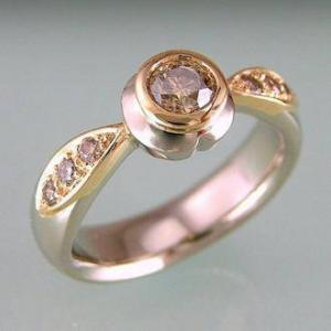 Chocolate and Pink Diamonds set in whitegold ring
