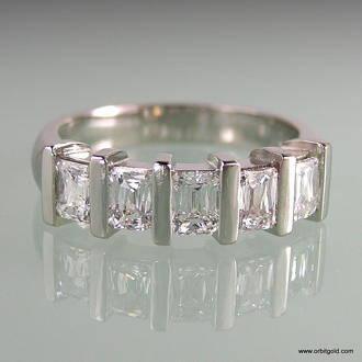 topview radiant diamond 5 stone bar set ring