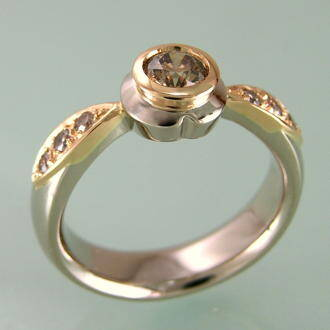 sideview of rosegold petal ring with chocolate and pink diamonds
