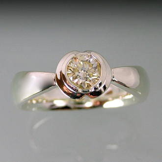 top view of tulip diamond ring with champagne diamond